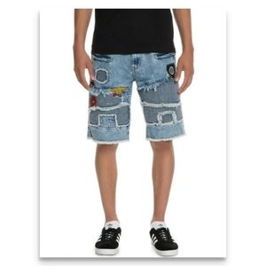 Reason Premium Denim Acid Wash Patchwork Shorts